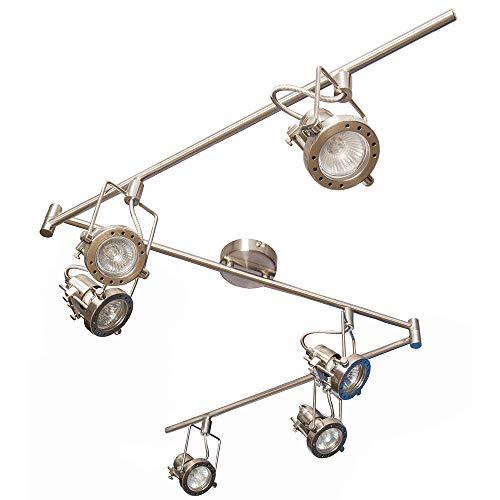 Strahler-Spot-Balken JET-LINE 6, nickel, 3 Stangen je 60 cm schwenkbar, Fassung GU10 max. 35W, ohne Leuchtmittel, Decken-Schaufenster-Büro-Strahler-Spot-Leuchte-Lampe