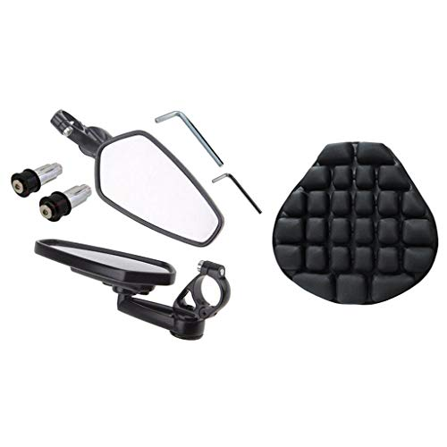 IPOTCH Anti-slip Inflatable Motorcycle Seat Cushion +7/8' 22mm End Rearview Side Mirror