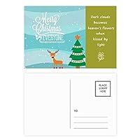 クリスマスツリーのイラスト鹿祭り 詩のポストカードセットサンクスカード郵送側20個