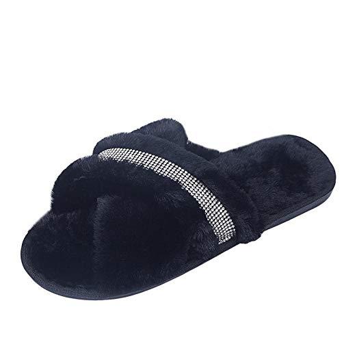 Zquest Sandalias Doradas para Mujer, Zapatillas de algodón para Mujer de otoño e Invierno, Zapatos de Piel de Fondo Plano Antideslizantes y cálidos-Black_39