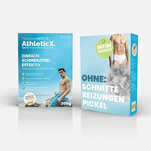 Enthaarungscreme Pulver Ganzkörper [300g] Capillum AMOVE AthleticX Premium (Geruchlos) schmerzfreie Dusch-Haarentfernung - Intimbereich für Mann & Frau ohne synth. Zusatzstoffe