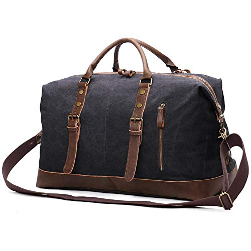 EverVanz Oversized Holdall Travel Duffel, Canvas Leather Trim Tote Unisex Shoulder Satchel, Portable Cabin Weekend Bag Handbag for Men and Women