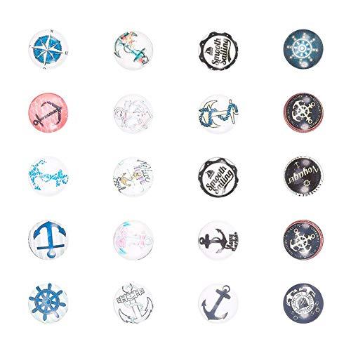 PandaHall 10PCS Cabochon Vetro Ciondoli per Collane Bracciali Portafoto con Disegno Timone & Ancora, Mezzotondo, Colore Misto, 12x4mm