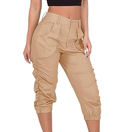 Tomwell Pantalon Chandal Mujer Verano Pantalones Deportivos Mujer Largos 3/4 con Bolsillos Laterales para Yoga Fitness Entrenamiento Correr Caqui M