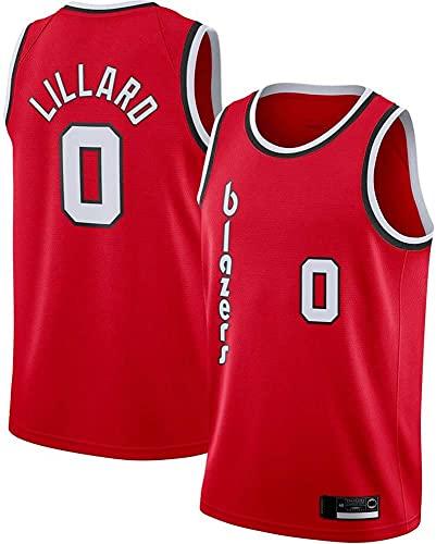 XUECHEN Ropa Jerseys de Hombre, NBA Portland Trail Blazers # 0 Damian Lillard, Uniformes de Baloncesto Camisetas de Deporte sin Mangas clásicas y Camisetas cómodas, Rojo, M (170~175cm)