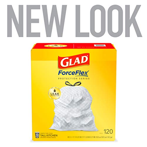 Glad ForceFlex Tall Kitchen Drawstring 13 Gallon White Trash Bag, Unscented 120 Count (Package May Vary)