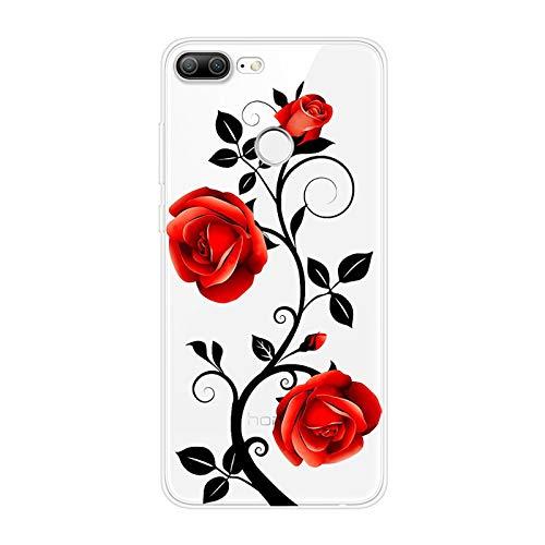 Urhause Kompatibel mit Huawei Honor 9 Lite Hülle TPU Silikon Bunt Schutzhülle,[Transparen Karikatur Silikonhülle] Hülle Gemalt,Ultra Slim Durchsichtig mit Muster Bumper Stoßfest Hülle,Rote Rose