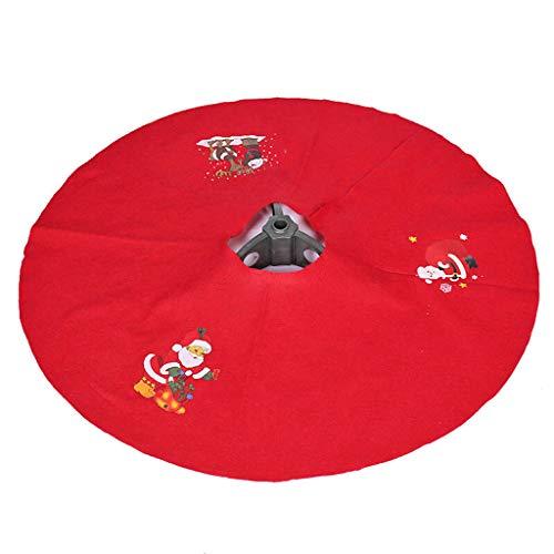 Ornement de Noël, jupe de sapin de Noël, tablier de sapin de Noël en tissu de bonhomme de neige, 90cm rouge (Color : C)