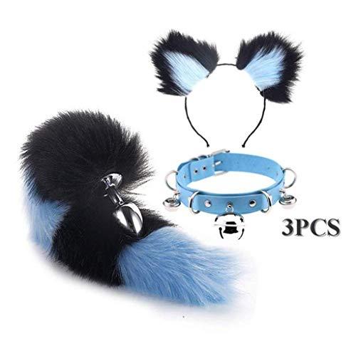 Jjek Cos Bell-Halsband - (Black & Purple) Fluffy B-Ütt P-l-ǔ-g Fuchsschwanz Plüsch und Katze-Ohr-Anime-Set for Frauen Glamour Female Masquerade Props 3pcs (Size : L)