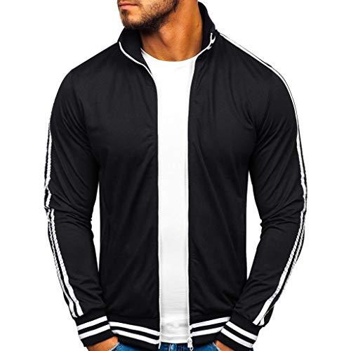 Herren Reißverschluss Sweatjacke Herbst Winter Sportswear Patchwork Langarm Jacke CICIYONER