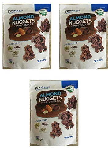 Innofoods Almond Nuggets in Dark Chocolate 16 oz. (3 Pack)