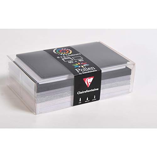 Clairefontaine 20831C - Correspondance Pollen - Coffret 40 Enveloppes 9x14cm + 40 Cartes Simples 8,2x12,8cm - Thème Hiver - 5 Coloris Différents
