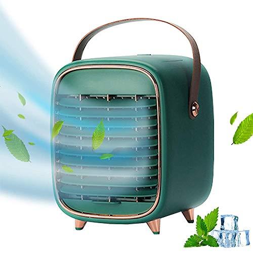 WEDSFC Mini refrigerador de Aire portátil, Aire Acondicionado móvil, Ventilador USB de Velocidad Ajustable, para Oficina en el hogar,Verde
