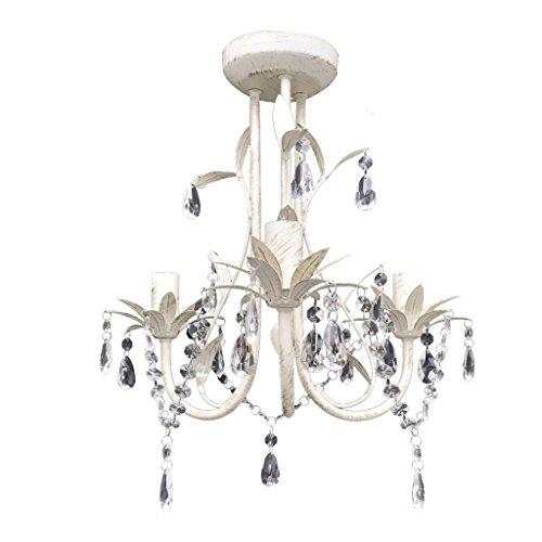 Festnight Elegante Lámpara Araña de Techo Colgante Blanca con Cristales 30 x 35 cm