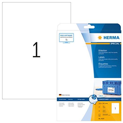 HERMA 4824 Universal Etiketten für Inkjet Drucker DIN A4 (210 x 297 mm, 25 Blatt, Papier, matt) selbstklebend, bedruckbar, permanent haftende Aufkleber, 25 Klebeetiketten, weiß