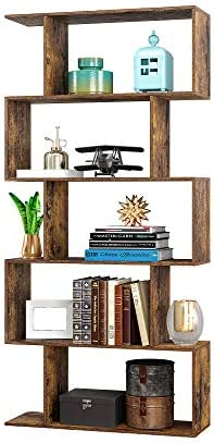 Yusong Wood Bookcase 5 Tier S Shaped Bookshelf Display Shelf for Living Room Living Room Divider product image
