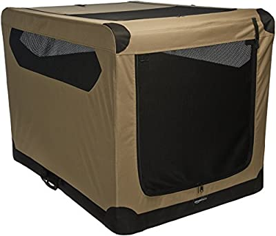 AmazonBasics Portable Folding Soft Dog Travel Crate Kennel, X-Large (31 x 31 x 42 Inches), Tan