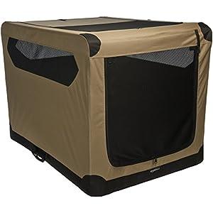 Amazon Basics Portable Folding Soft Dog Travel Crate Kennel, X-Large (31 x 31 x 42 Inches), Tan