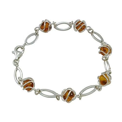 HolidayGiftShops Sterling Silver Honey Baltic Amber Bracelet