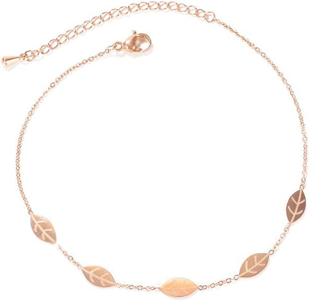 3Aries Stainless Steel Rose Gold Color Leaf Anklet Bracelet Foot Jewelry for Women Girls