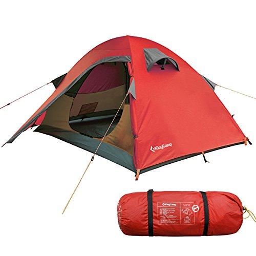 KingCamp Tente de Camping Double Couche, Imperméable, Tissu Ripstop Anti-Rouille, pour 2 Personnes,...
