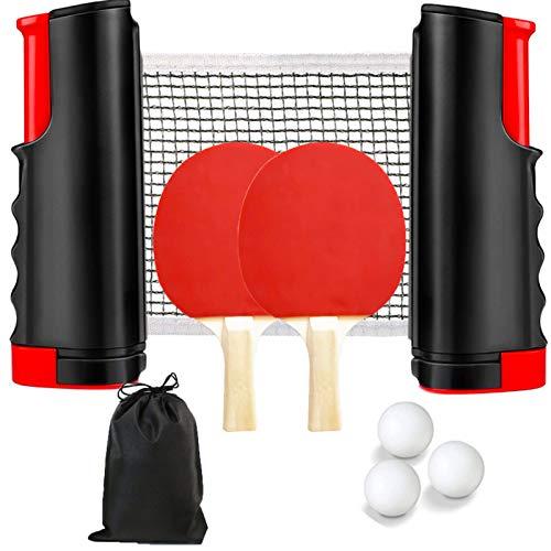 WHOVO Juego de tenis de mesa, incluye 1 poste de red retráctil,...