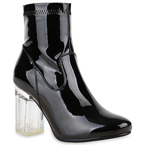 Klassische Stiefeletten Damen Durchsichtiger Block Absatz Lack Schuhe 128218 Schwarz 37 Flandell