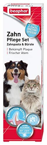 beaphar Zahnpflege Set | Zahnpasta & Zahnbürste | Für große und kleine Hunde | Für Katzen | Ohne Fluoride | Mit Lebergeschmack | 1 Bürste & 1 Zahnpasta