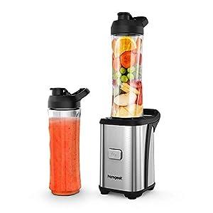 Blender Smoothie Maker, homgeek Personal Mini Blender with 2 * 600ml Portable Travel Sport Bottles for Milkshake, Fruit and Vegetable Drinks, Ice, 350W, Silver