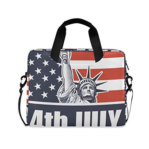 Borsa per computer portatile 4 luglio Independence Day Valigetta da 16 pollici Custodia protettiva per notebook con manico multi tasche design carino