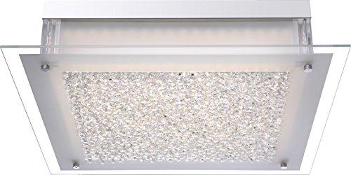 Praktische LED Deckenleuchte chrom Glas satiniert, Rand klar, Kristalle klar 20,5W - Globo LEAH 4931