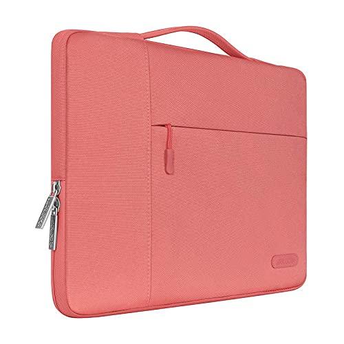 MOSISO Laptop Aktentasche Kompatibel mit MacBook Pro 16 Zoll, 15 15,4 15,6 Zoll Dell Lenovo HP Asus Acer Samsung Sony Chromebook, Polyester Multifunktion Sleeve Hülle, Lebende Koralle