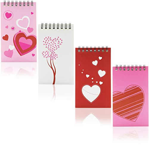 Valentine's Spiral Notepads for Kids Classroom Exchange (3 x 5 In, 24 Pack)