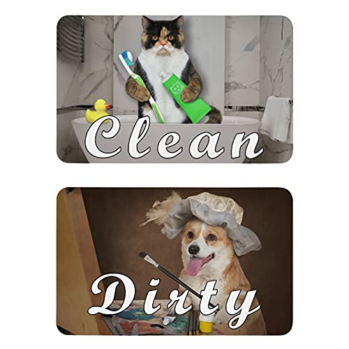 Naanle Funny Cat Corgi Dog Dishwasher Magnet Clean Dirty Sign Indicator Reminder Magnetic Plate Kitchen Dish Washer Refrigerator Magnet Signs for Kitchen Home Office Washing Machine Decor