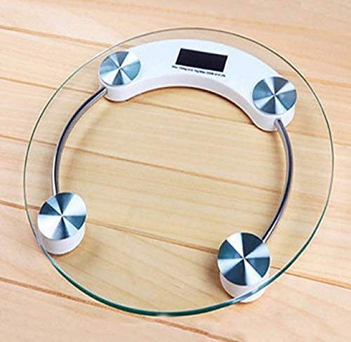 RTB Electronic Thick Tempered Glass and LCD Display Digital Personal Bathroom Health Body Weighing Scales for Human Body (Round-Shape)