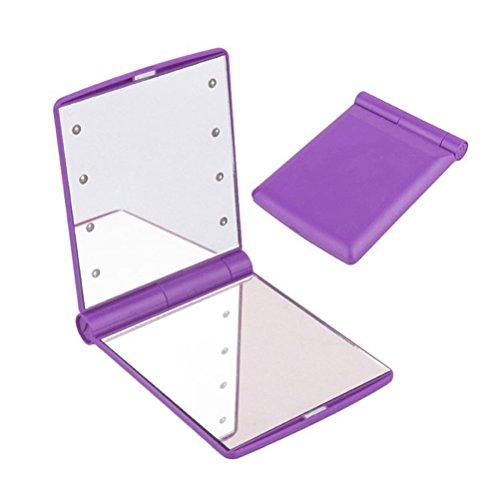 frcolor LED Miroir de maquillage portable lumière miroir compact 8-LED (Purple)