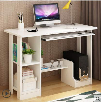 GORVELL White Computer Desk for Small Spaces, Compact Wooden PC Gaming Table Corner Desk with Storage Shelves for Home Office Bedroom,L90x W40 x H71cm