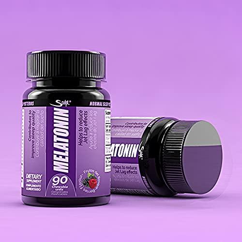 Melatonina 1,8 mg Hormona del sueño, Descanso, Jet lag, dormir mejor, Reduce el insomnio, estrés y fatiga, sabor frutas del bosque.