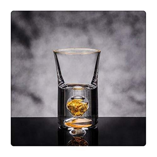 Yousiju Vaso de chupito de Cristal Manual Licor de Hoja Dorada Espíritus Agua de Fuego Mini Copas de Vino Caja de Regalo con Divisor de Vino (Color : 1 Glass)