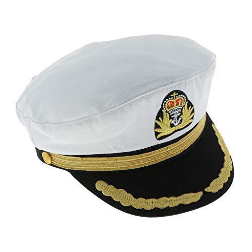 dailymall Kapitänsmütze Matrosenmütze Segler Hut Seemann-Kostüm Fischer Outfit Marine für Karneval - Weißer Erwachsener