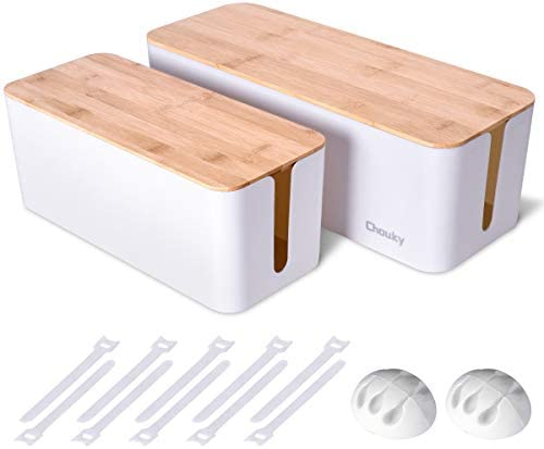 2 Pack Large Cable Management Box Wooden Style Cord Organizer Box and Cover for TV Wires Computer product image