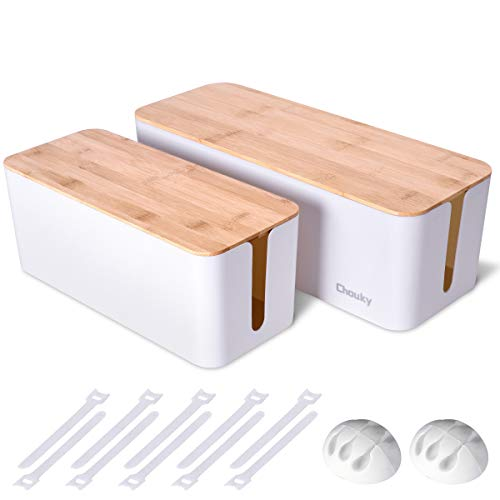 2 Pack Large Cable Management Box – Wooden Style Cord Organizer Box and Cover for TV Wires, Computer, Router, USB Hub and Under Desk Power Strip – Safe ABS Material and Baby-Pets Proof Lock (White)