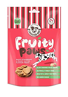 Laughing Dog - Fruity Paw - Strawberry & Peanut Butter Flavoured Dog Treats - Wheat Free Training Treats, Promotes Dental Health - 125g, red