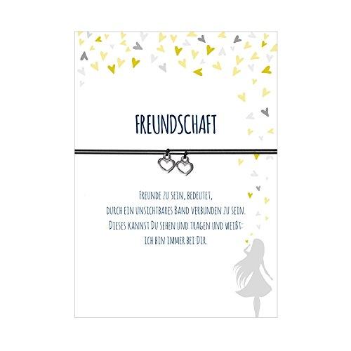 2 Armbänder im Set für 2 Freundinnen FREUNDSCHAFT mit 2 Herzanhängern, elastischem Textilband in schwarz und liebevoller Karte:Freunde zu sein, bedeutet, durch ein unsichtbares Band verbunden zu sein