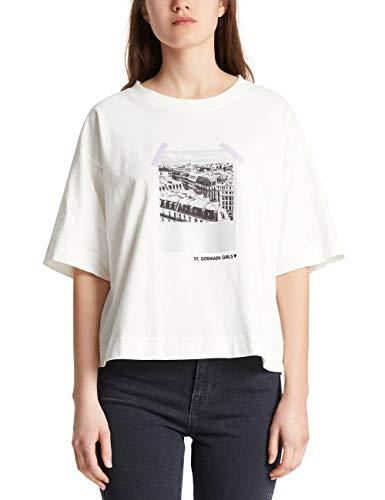 Marc Cain Sports Damen MS 48.01 J06 T-Shirt, Mehrfarbig (Off-White 110), 36 (Herstellergröße: 2)