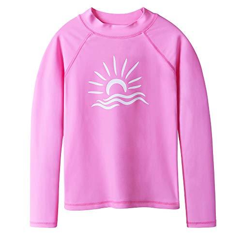 TFJH E Long Sleeve Shirt for Girl Rashguard Swimwear UV 50+ Swimming Top Pink 16A