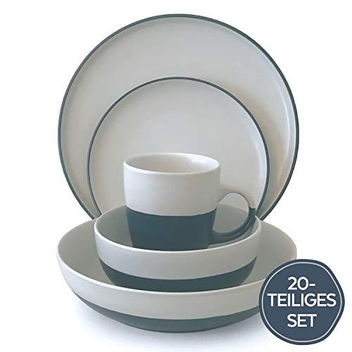 Steingut Geschirr Set 20-tlg. - Robust, Spülmaschinenfest, Nordisches Design - Modernes Keramik Geschirr Steingut - Stilvoll in Creme und Anthrazit-Blau - Premium Porzellan Geschirrset von Pure Living