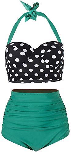 ChayChax Damen Hoher Taille Badeanzug 50er Retro Polka-Punkt Badeanzüge Bademode Zweiteiler Bikini Set Schwimmanzug, Schwarz Punkt + Grün, Größe XL