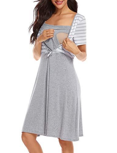 Irevial Camisón Premamá algodón, Raya Pijama Lactancia
