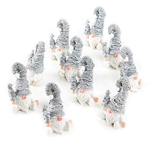 Logbuch-Verlag 10 witzige kleine Wichtel Figuren Silber weiß mit Tannenbaum + Zipfelmütze glitzernd Wichtelgeschenk Kinder Mini Nikolausgeschenk Deko Weihnachten